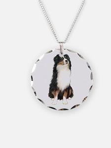 Australian Shep (tri) #2 Necklace Circle Charm