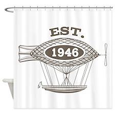 Vintage Birthday Est 1946 Shower Curtain