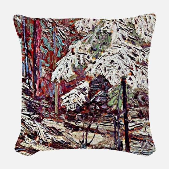 Snow in the Woods Woven Throw Pillow