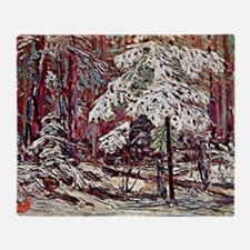 Snow in the Woods Throw Blanket