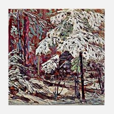 Snow in the Woods Tile Coaster