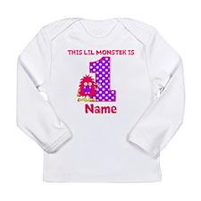 1st Birthday Monster Pink Long Sleeve T-Shirt