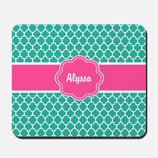 Teal Pink Quaterfoil Personalized Mousepad