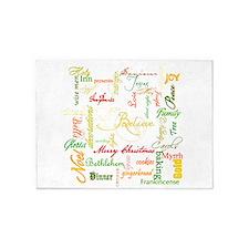 christmas words collage 5'x7'Area Rug