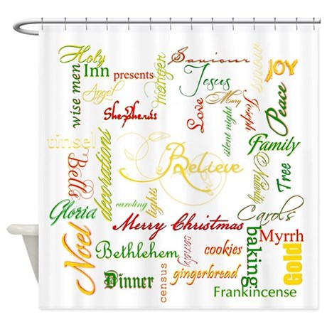 Christmas Words Collage Shower Curtain By Ibeleiveimages