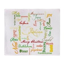 christmas words collage Throw Blanket