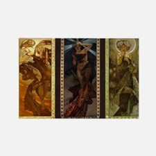 Mucha Triptych Rectangle Magnet