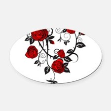 Red Rose Oval Car Magnet