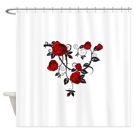 French Door Panel Curtains Rose Design Shower Curtain