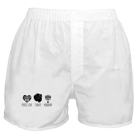 Peace Love Turkey Menorah Boxer Shorts