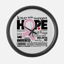 Breast Cancer Words Large Wall Clock