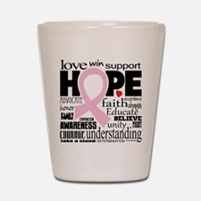 Breast Cancer Words Shot Glass