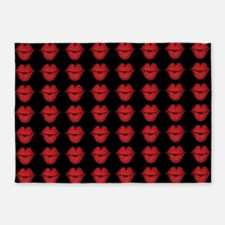 Red Lips On Black Background 5'x7'Area Rug