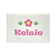 "Pink Daisy - ""Kelsie"" Rectangle Magnet"
