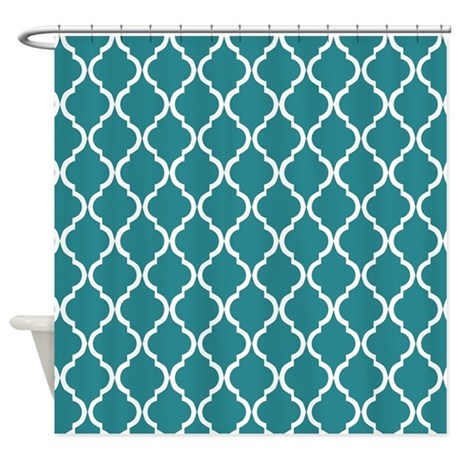 teal moroccan lattice shower curtain by