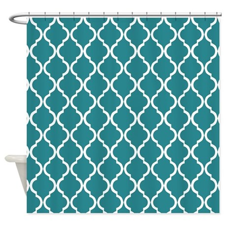 Teal Moroccan Lattice Shower Curtain By Cierraspatterndecorandgifts