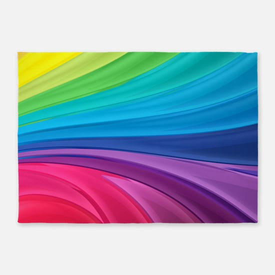Rainbow Wave Swirls 5'x7'Area Rug