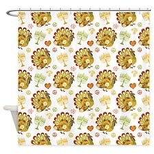 Turkey Menorah Pattern Hanukkah Shower Curtain