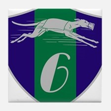 Graphic Racing Greyhound Dog Shield Number 6 Tile