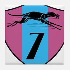 Graphic Racing Greyhound Dog Shield Number 7 Tile