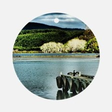Lake Diver Round Ornament