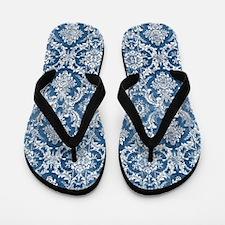 Sapphire Grunge Damask DESIGN Flip Flops