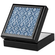Sapphire Grunge Damask DESIGN Keepsake Box