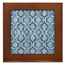 Sapphire Grunge Damask DESIGN Framed Tile