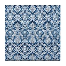 Sapphire Grunge Damask DESIGN Tile Coaster