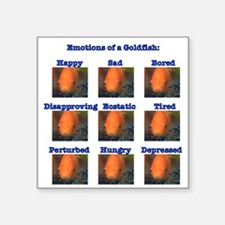 "Goldfish Emotions Square Sticker 3"" x 3"""