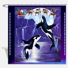 Orca Christmas Oval Shower Curtain