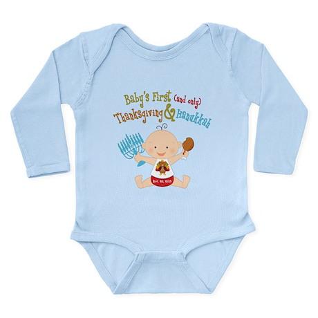 1st Thanksgiving Hanukkah Long Sleeve Infant Bodys