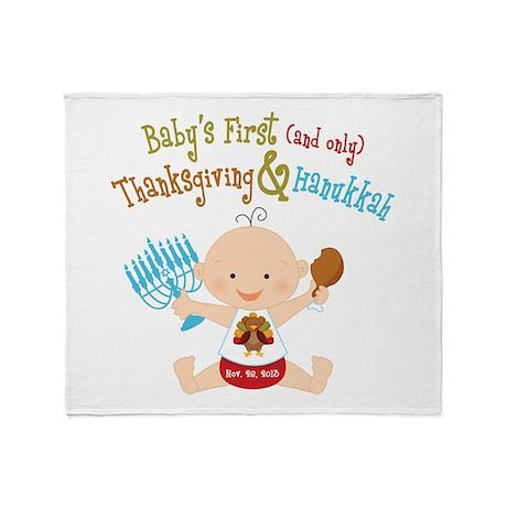 1st Thanksgiving Hanukkah Throw Blanket
