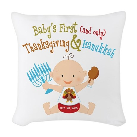 1st Thanksgiving Hanukkah Woven Throw Pillow