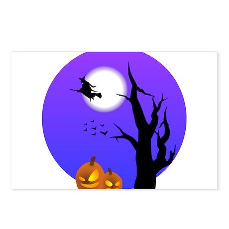 Halloween Witch Jack-o-Lantern Pumpkins Postcards