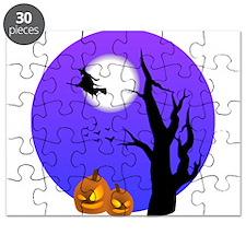 Halloween Witch Jack-o-Lantern Pumpkins Puzzle