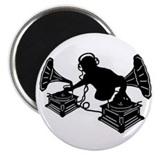Gramophone Music - DJ & Retro Vinyl Headpho Magnet