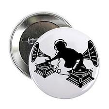 "Gramophone Music - DJ & Retro Vinyl H 2.25"" Button"
