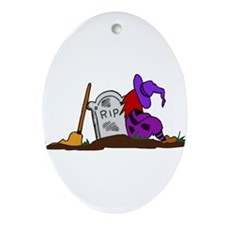 Halloween Witch and Tombstone Ornament (Oval)