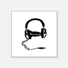 "Headphones Audio Wave Theme Square Sticker 3"" x 3"""