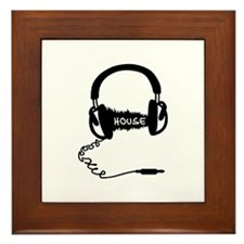 Headphones Headphones Audio Wave Motif Framed Tile