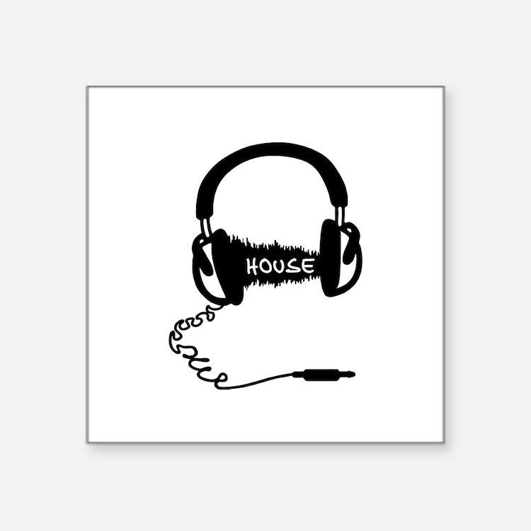 "Headphones Headphones Audio Square Sticker 3"" x 3"""