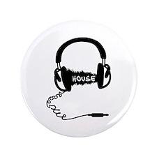 """Headphones Headphones Audio Wave Motif 3.5"""" Button"""