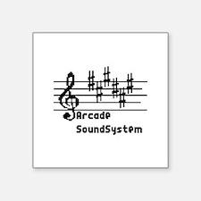 "Arcade sound system clef no Square Sticker 3"" x 3"""