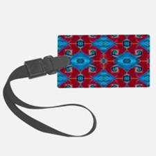 Red Blue Criss Cross Pattern Luggage Tag