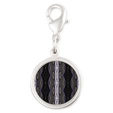 Black White Lace Pattern  Silver Round Charm