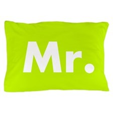 Lime Green Mr Pillow Case - part of couple set