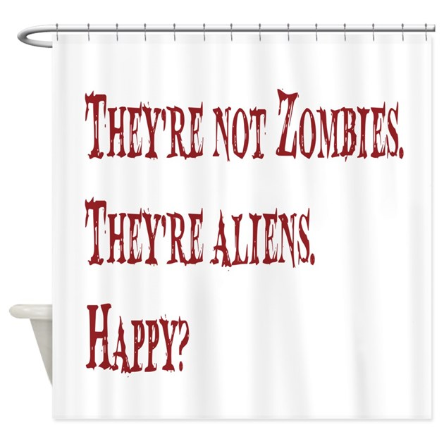 Not zombies red shower curtain by fridaycutout for Zombie bathroom decor
