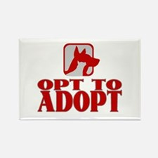 Opt To Adopt (red) Rectangle Magnet (10 pack)