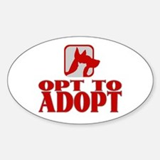 Opt To Adopt (red) Oval Decal